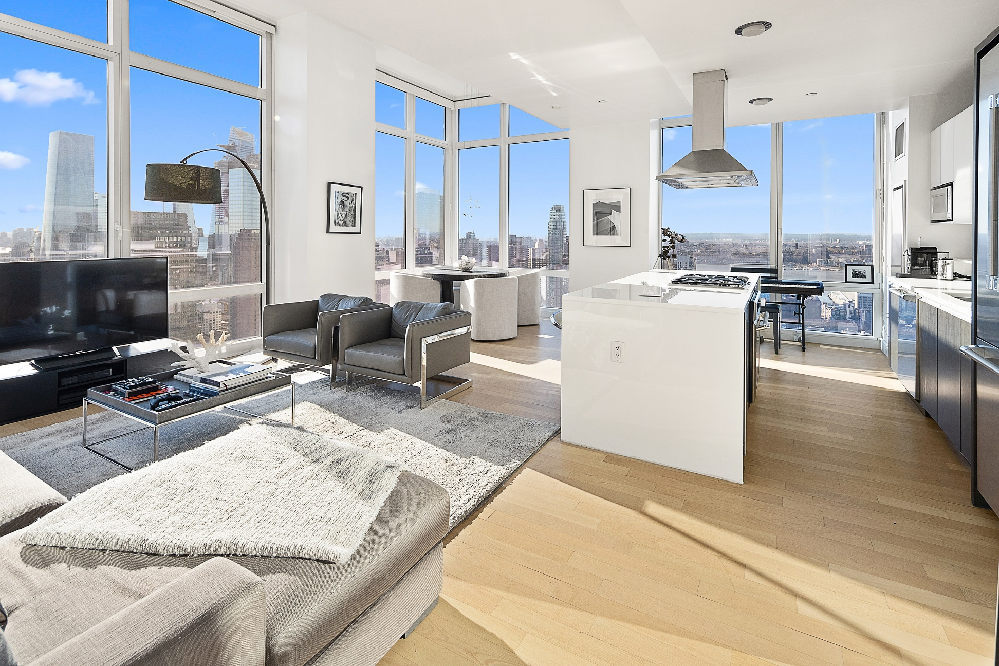 INVESTORS ONLY- TENANT IN PLACE TILL JULY 2022!!Million dollar views to the South to Statue of Liberty & Hudson River to the West for every room.The Home: This extra large square feet) immaculate 2 bed room with 2.5 bath at the Platinum. This modern split 2 bed room residence has approx. 12' ceilings with floor-to-ceiling windows, an open kitchen with state-of-the-art Thermador appliances, including a wine refrigerator. This unit features light oak wood floors throughout, a Bosch full-size stacked washer/dryer, plenty of closet space and an unusually large master bedroom with a walk in closet. The master bathroom features a Neptune deep soaking tub and a separate shower with Dornbracht faucets and toto toilet. Views-Unlike any home in Manhattan. South views stretch to Statue of Liberty & beyond and the Western Views of Hudson River & New Jersey.The Amenities- Included in the common charges is a residence only, full floor of indoor and outdoor private, professionally-staffed resort style health club and spa (The Zone). There is a golf simulator, pool table and television lounge, a fitness room, meditation/meeting lounge, a quiet room with massage chairs and relaxing audio and video, experiential showers, a sauna, spa treatment rooms, yoga studio, a full calendar of complimentary classes and events, and a landscaped wraparound terrace with an outdoor fireplace with beautiful midtown views.The Building-Located at the The Crossroads of the World. This dramatic 43 glass design building has 24 hour doorman & concierge. 26 feet fire place in the lobby that is surrounded by a moat of moving water. The building has a two level garage with direct access to building, cold storage, bike room. Easy access to 16 subway lines makes this an ideal home for commuting to any part of the city.